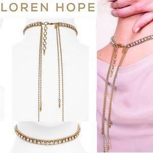 LOREN HOPE Gold Crystal Choker Necklace